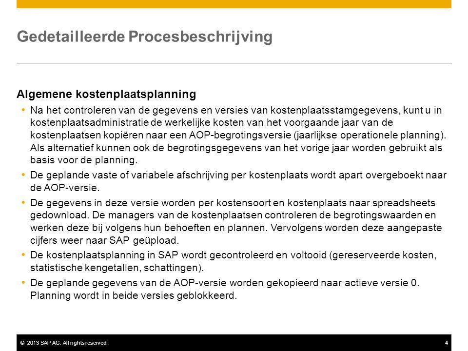 ©2013 SAP AG. All rights reserved.4 Gedetailleerde Procesbeschrijving Algemene kostenplaatsplanning  Na het controleren van de gegevens en versies va