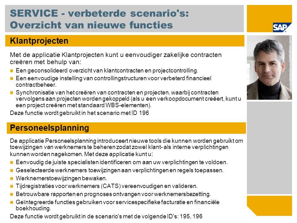 SERVICE - verbeterde scenario's: Overzicht van nieuwe functies Klantprojecten Met de applicatie Klantprojecten kunt u eenvoudiger zakelijke contracten