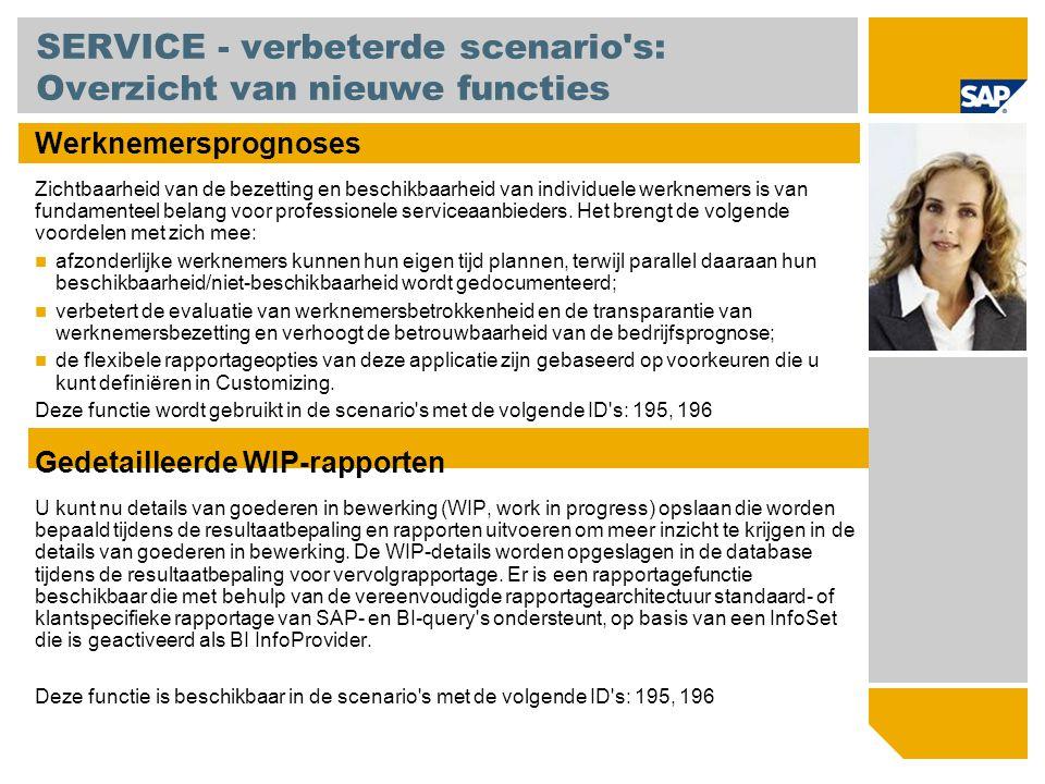SERVICE - verbeterde scenario's: Overzicht van nieuwe functies Werknemersprognoses Zichtbaarheid van de bezetting en beschikbaarheid van individuele w