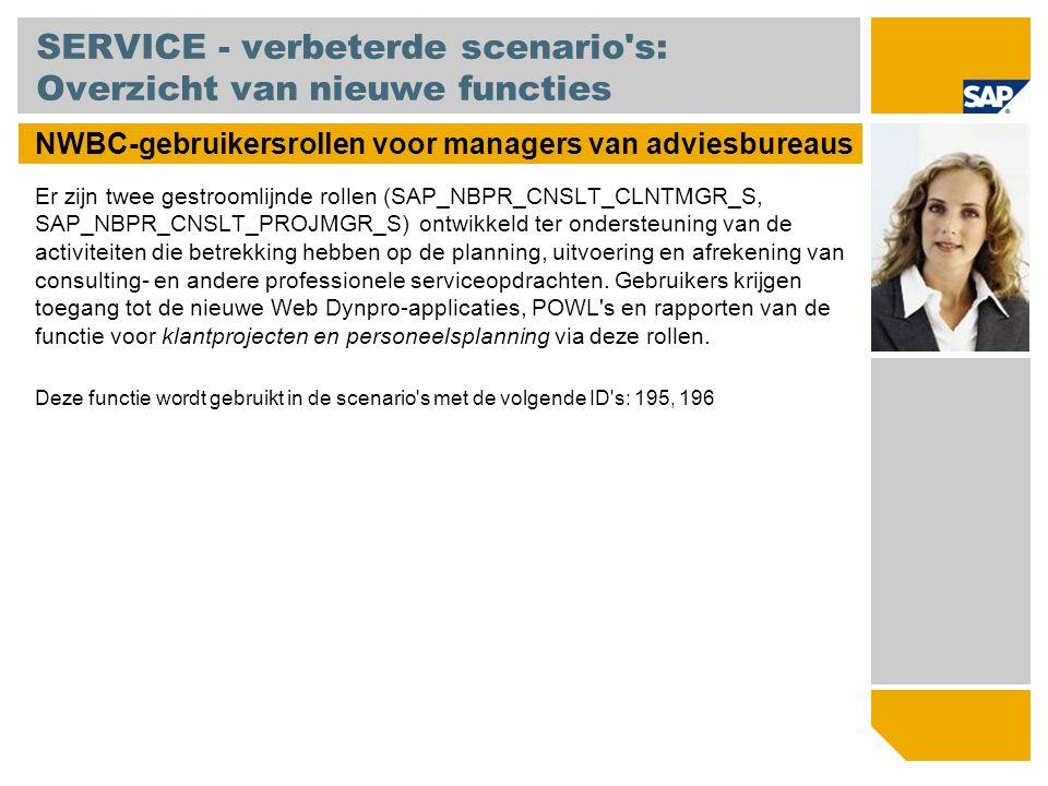 SERVICE - verbeterde scenario's: Overzicht van nieuwe functies NWBC-gebruikersrollen voor managers van adviesbureaus Er zijn twee gestroomlijnde rolle