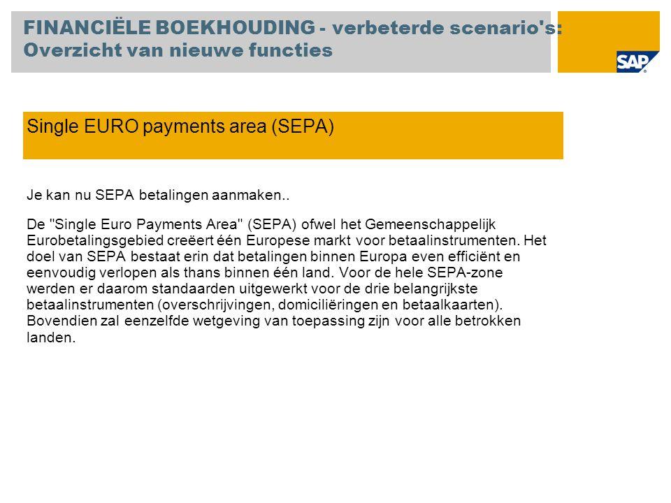 Single EURO payments area (SEPA) Je kan nu SEPA betalingen aanmaken.. De