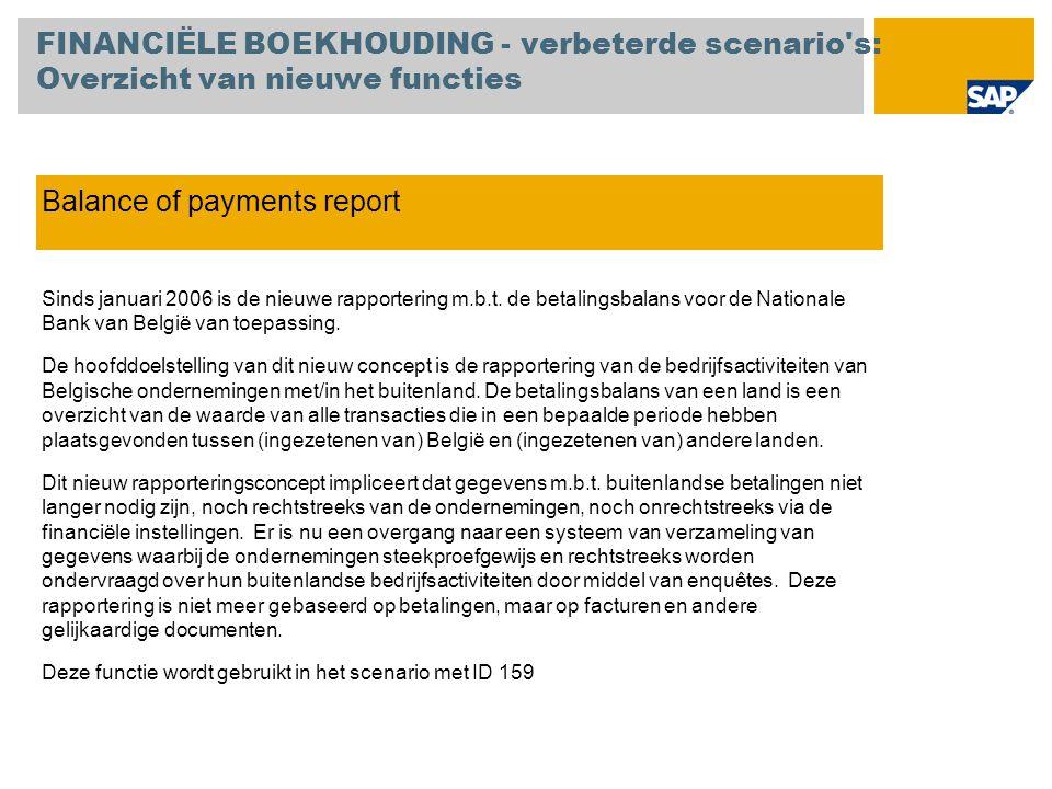 Balance of payments report Sinds januari 2006 is de nieuwe rapportering m.b.t. de betalingsbalans voor de Nationale Bank van België van toepassing. De