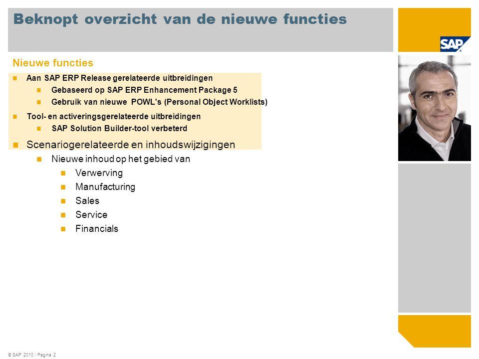 © SAP 2010 / Pagina 2 Nieuwe functies Aan SAP ERP Release gerelateerde uitbreidingen Gebaseerd op SAP ERP Enhancement Package 5 Gebruik van nieuwe POW