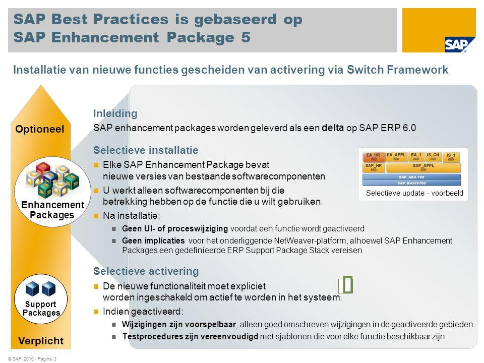 © SAP 2010 / Pagina 3 SAP Best Practices is gebaseerd op SAP Enhancement Package 5 Inleiding SAP enhancement packages worden geleverd als een delta op