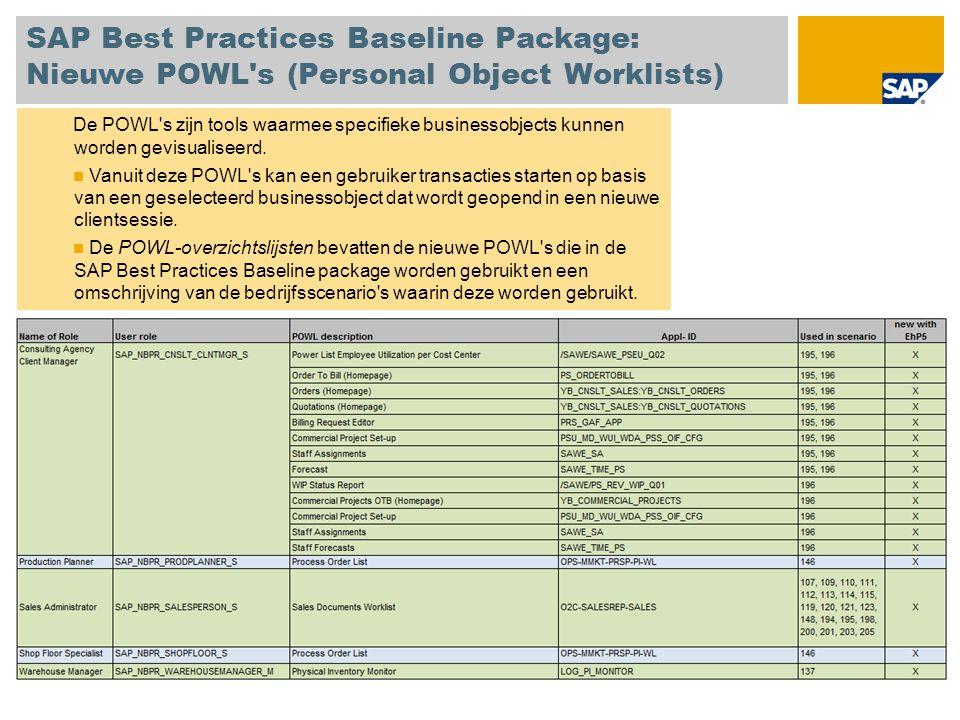 SAP Best Practices Baseline Package: Nieuwe POWL's (Personal Object Worklists) De POWL's zijn tools waarmee specifieke businessobjects kunnen worden g