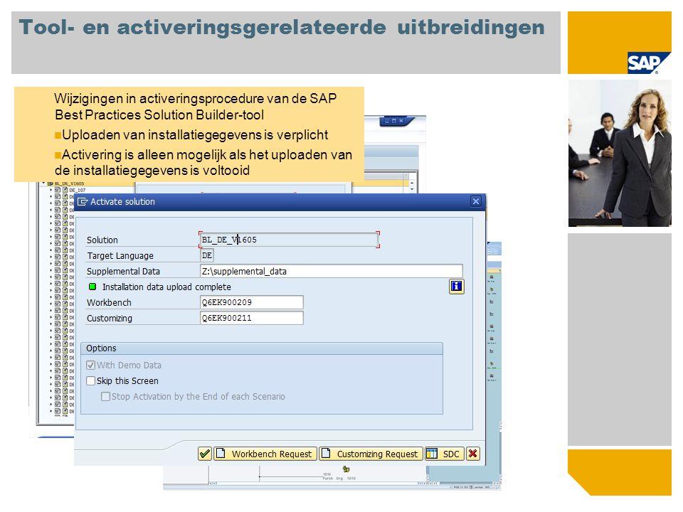 Tool- en activeringsgerelateerde uitbreidingen Wijzigingen in activeringsprocedure van de SAP Best Practices Solution Builder-tool Uploaden van instal