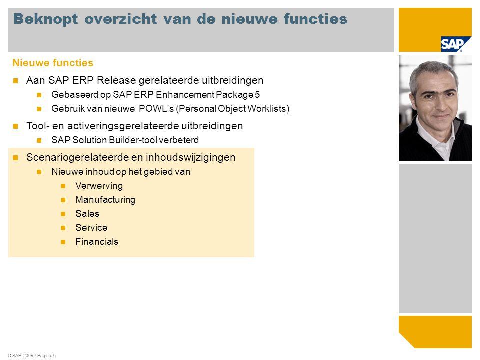 © SAP 2009 / Pagina 6 Nieuwe functies Aan SAP ERP Release gerelateerde uitbreidingen Gebaseerd op SAP ERP Enhancement Package 5 Gebruik van nieuwe POW