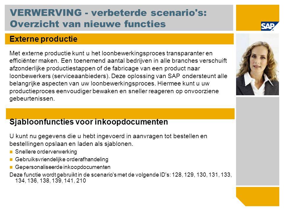 VERWERVING - verbeterde scenario's: Overzicht van nieuwe functies Externe productie Met externe productie kunt u het loonbewerkingsproces transparante