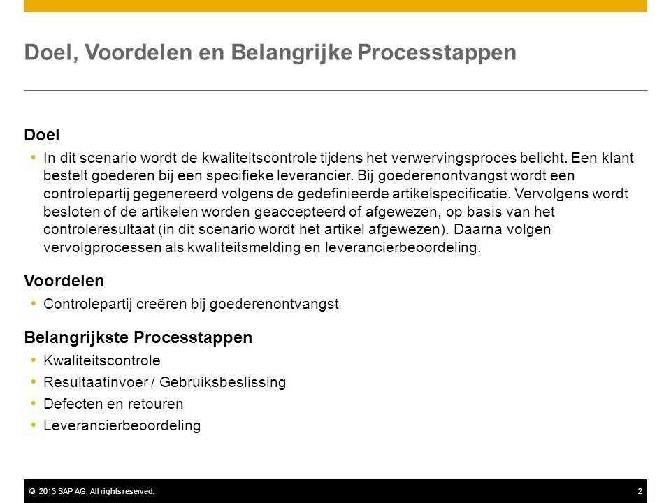 ©2013 SAP AG. All rights reserved.2 Doel, Voordelen en Belangrijke Processtappen Doel  In dit scenario wordt de kwaliteitscontrole tijdens het verwer