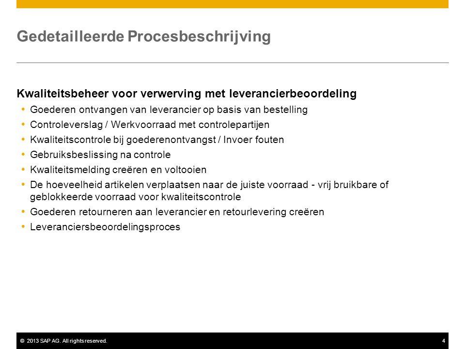 ©2013 SAP AG. All rights reserved.4 Gedetailleerde Procesbeschrijving Kwaliteitsbeheer voor verwerving met leverancierbeoordeling  Goederen ontvangen