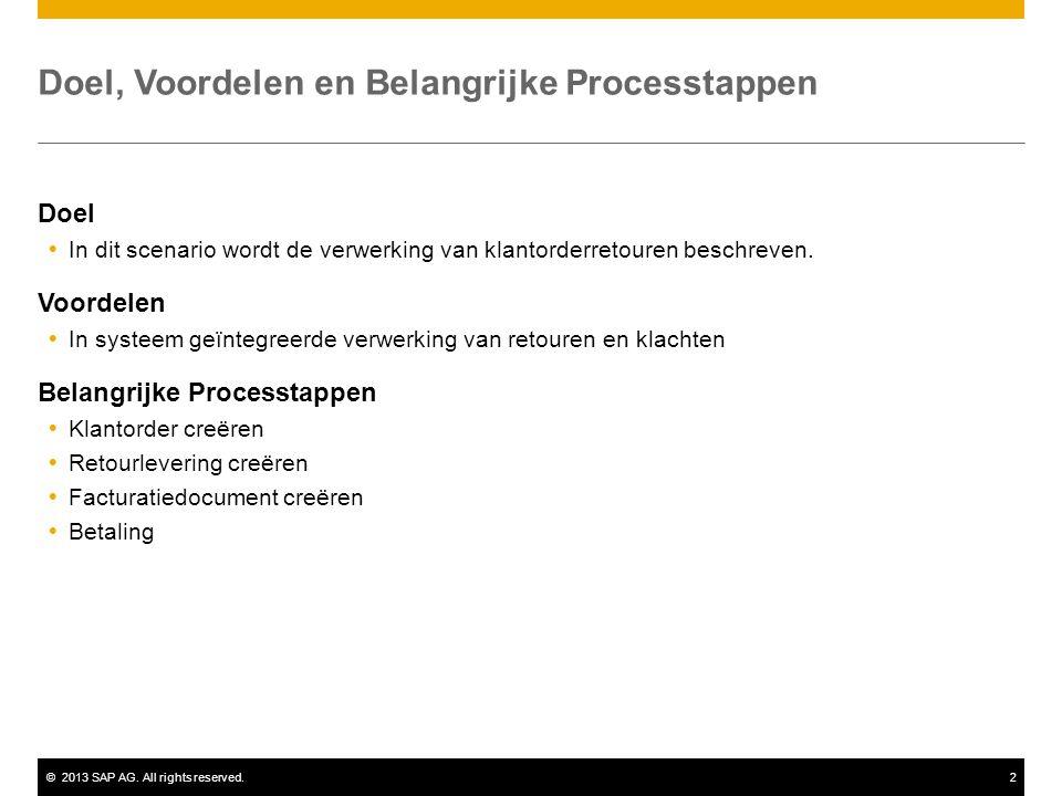 ©2013 SAP AG. All rights reserved.2 Doel, Voordelen en Belangrijke Processtappen Doel  In dit scenario wordt de verwerking van klantorderretouren bes