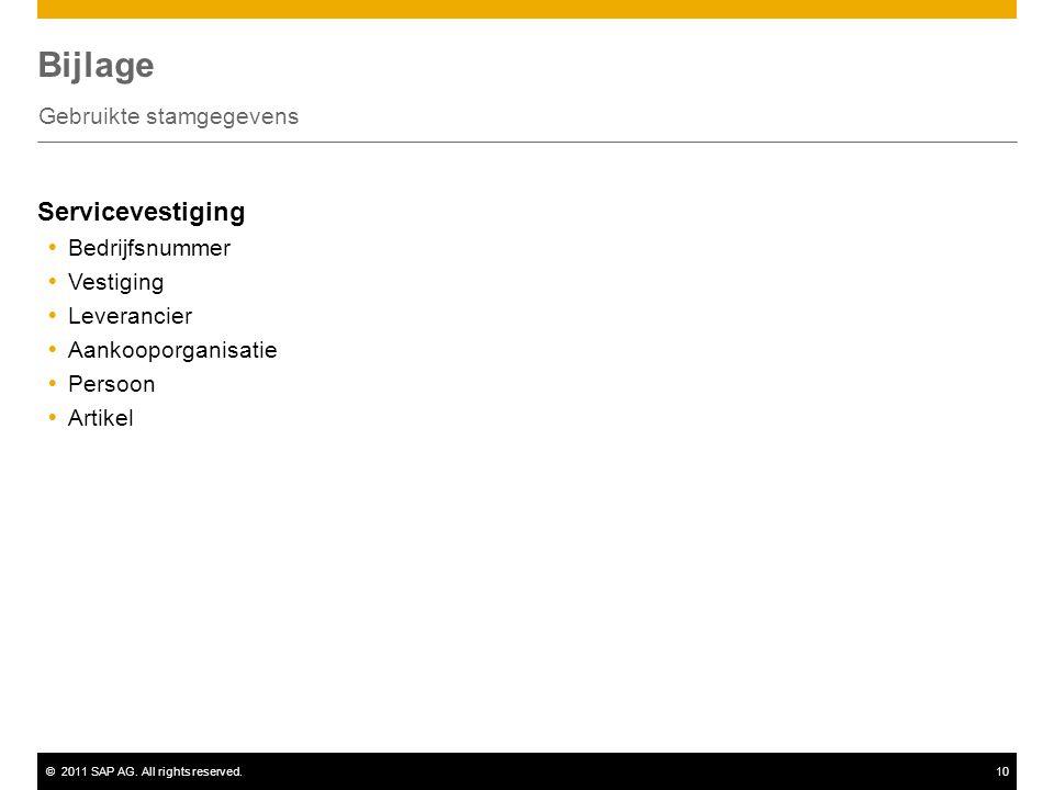 ©2011 SAP AG. All rights reserved.10 Bijlage Gebruikte stamgegevens Servicevestiging  Bedrijfsnummer  Vestiging  Leverancier  Aankooporganisatie 