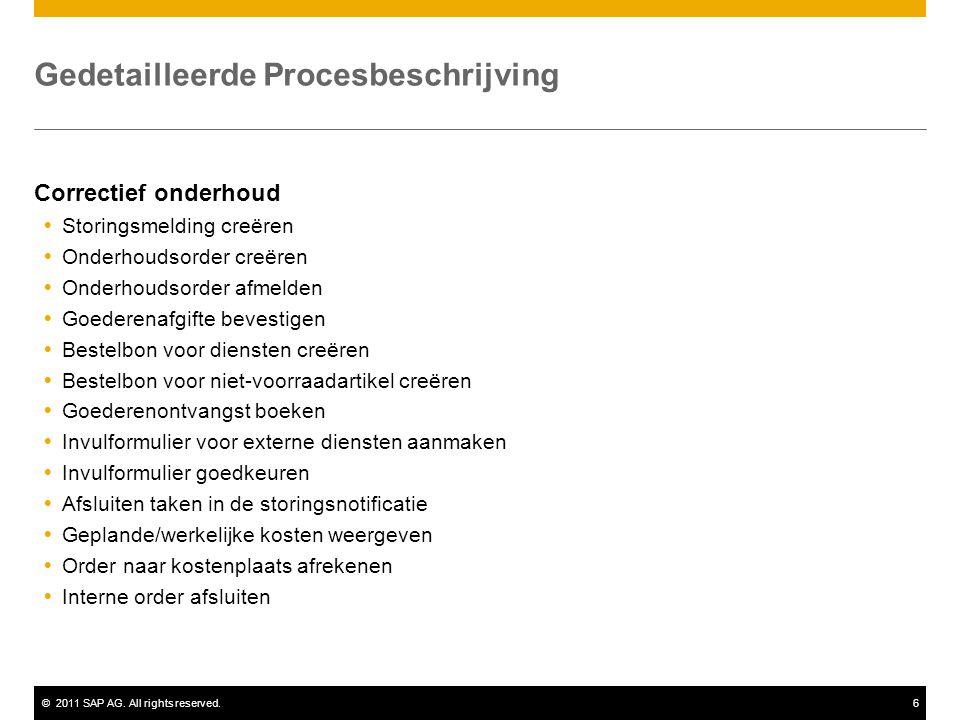 ©2011 SAP AG. All rights reserved.6 Gedetailleerde Procesbeschrijving Correctief onderhoud  Storingsmelding creëren  Onderhoudsorder creëren  Onder