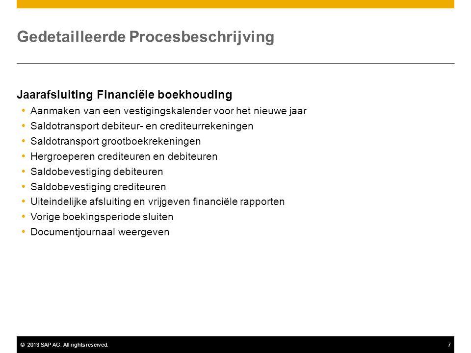 ©2013 SAP AG. All rights reserved.7 Gedetailleerde Procesbeschrijving Jaarafsluiting Financiële boekhouding  Aanmaken van een vestigingskalender voor