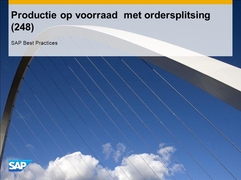 Productie op voorraad met ordersplitsing (248) SAP Best Practices