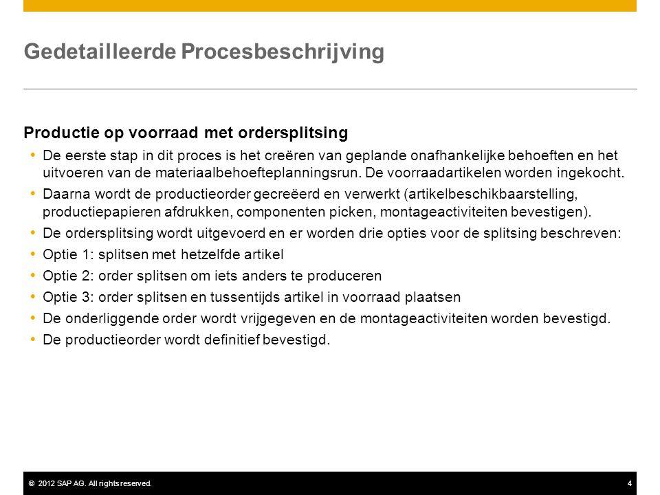 ©2012 SAP AG. All rights reserved.4 Gedetailleerde Procesbeschrijving Productie op voorraad met ordersplitsing  De eerste stap in dit proces is het c