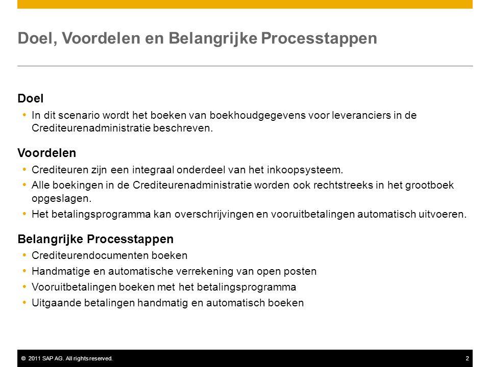 ©2011 SAP AG. All rights reserved.2 Doel, Voordelen en Belangrijke Processtappen Doel  In dit scenario wordt het boeken van boekhoudgegevens voor lev