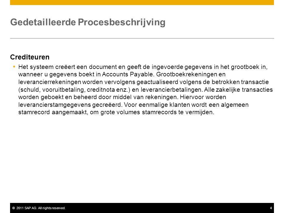 ©2011 SAP AG. All rights reserved.4 Gedetailleerde Procesbeschrijving Crediteuren  Het systeem creëert een document en geeft de ingevoerde gegevens i