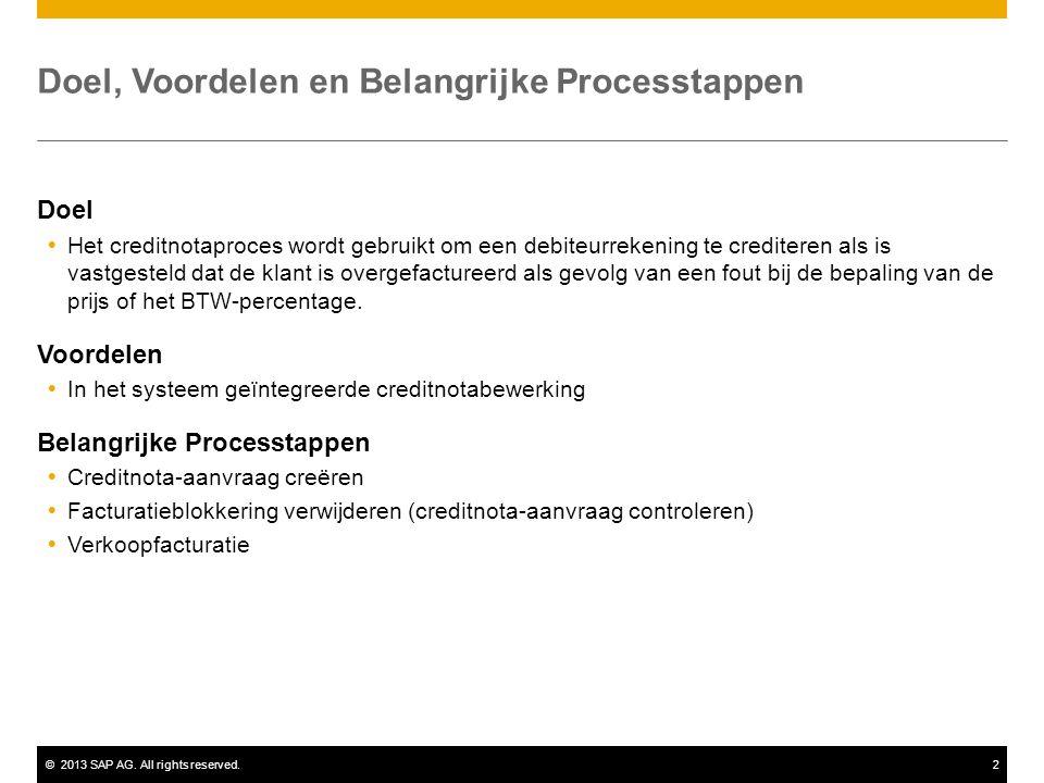 ©2013 SAP AG. All rights reserved.2 Doel, Voordelen en Belangrijke Processtappen Doel  Het creditnotaproces wordt gebruikt om een debiteurrekening te
