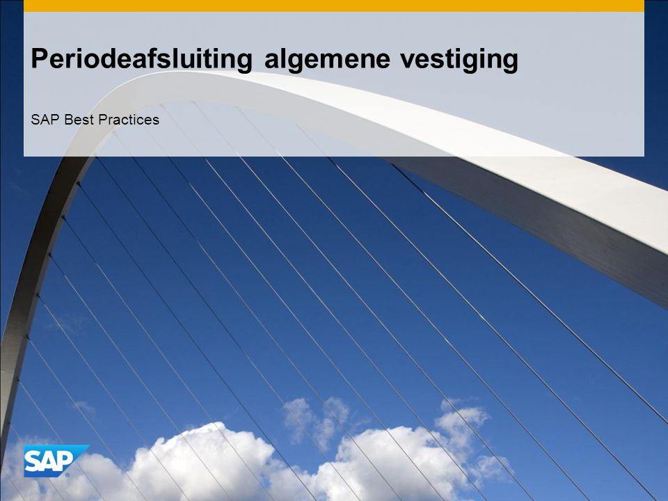 Periodeafsluiting algemene vestiging SAP Best Practices
