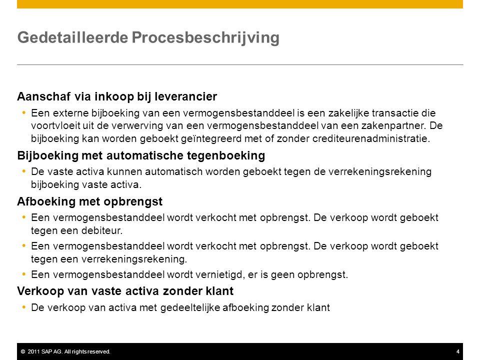 ©2011 SAP AG. All rights reserved.4 Gedetailleerde Procesbeschrijving Aanschaf via inkoop bij leverancier  Een externe bijboeking van een vermogensbe