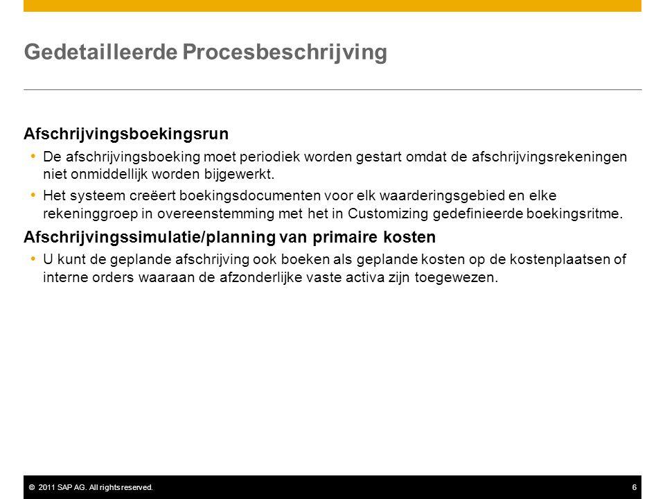 ©2011 SAP AG. All rights reserved.6 Gedetailleerde Procesbeschrijving Afschrijvingsboekingsrun  De afschrijvingsboeking moet periodiek worden gestart