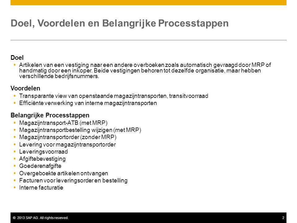 ©2013 SAP AG. All rights reserved.2 Doel, Voordelen en Belangrijke Processtappen Doel  Artikelen van een vestiging naar een andere overboeken zoals a