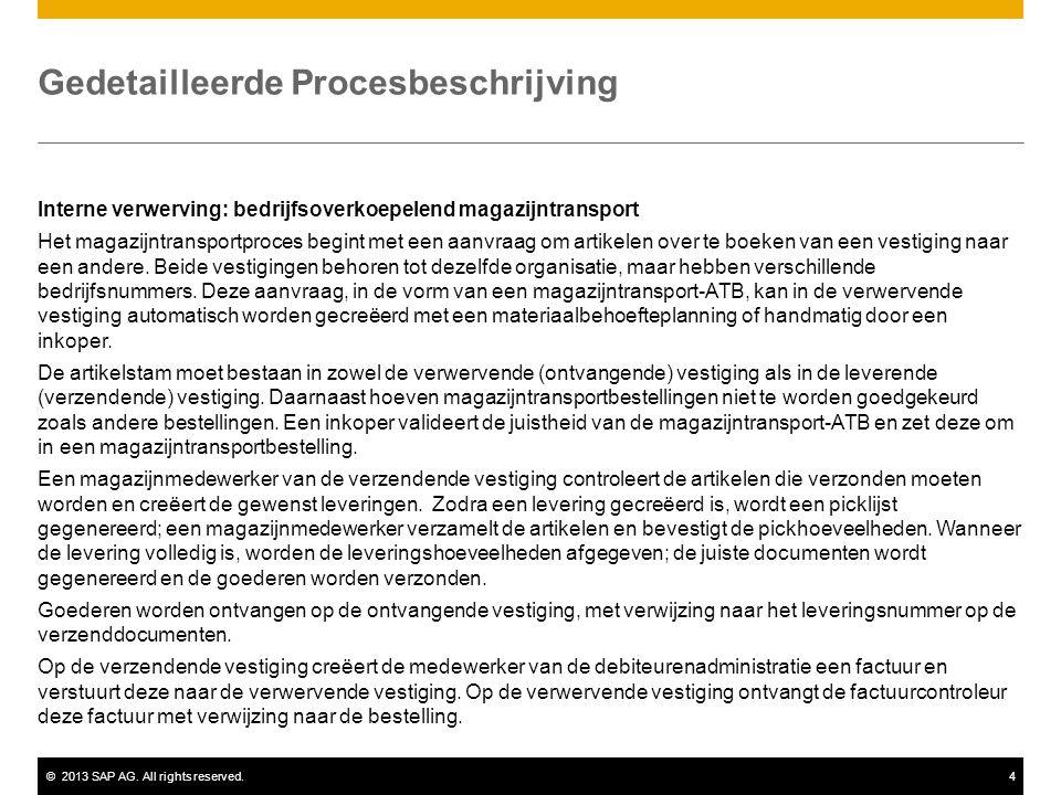 ©2013 SAP AG. All rights reserved.4 Gedetailleerde Procesbeschrijving Interne verwerving: bedrijfsoverkoepelend magazijntransport Het magazijntranspor