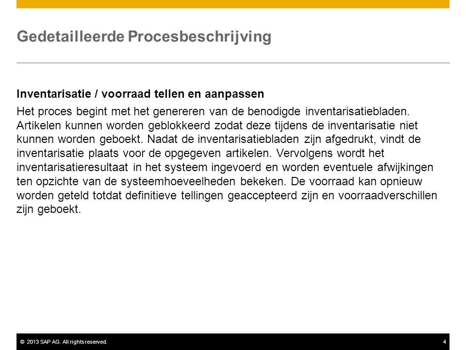 ©2013 SAP AG. All rights reserved.4 Gedetailleerde Procesbeschrijving Inventarisatie / voorraad tellen en aanpassen Het proces begint met het generere