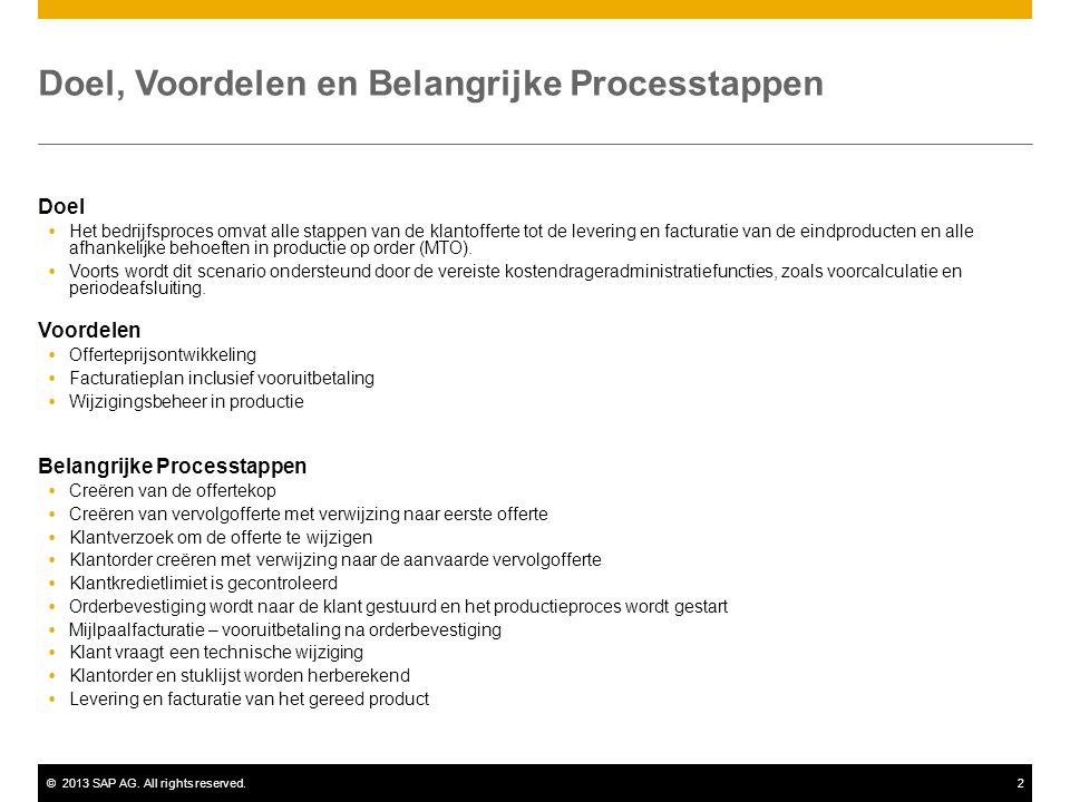 ©2013 SAP AG. All rights reserved.2 Doel, Voordelen en Belangrijke Processtappen Doel  Het bedrijfsproces omvat alle stappen van de klantofferte tot
