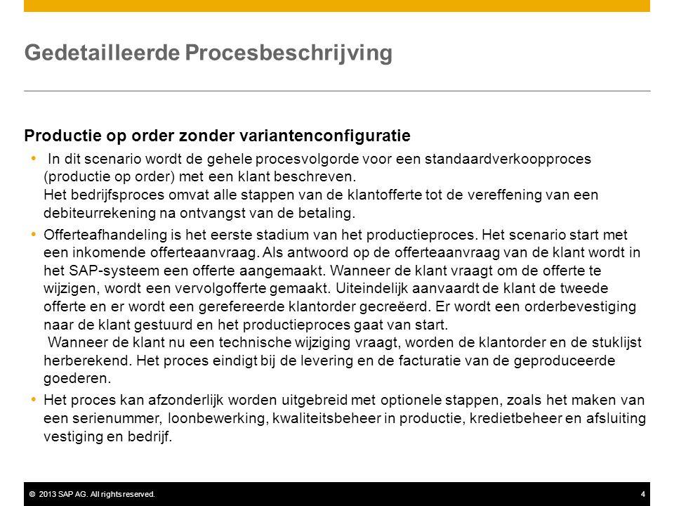 ©2013 SAP AG. All rights reserved.4 Gedetailleerde Procesbeschrijving Productie op order zonder variantenconfiguratie  In dit scenario wordt de gehel