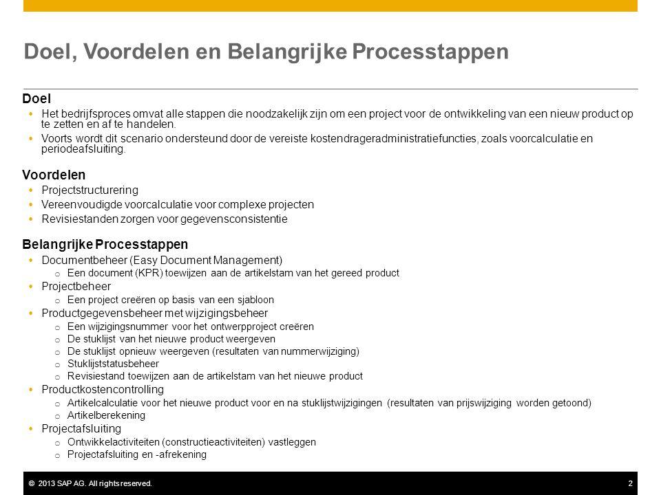 ©2013 SAP AG. All rights reserved.2 Doel, Voordelen en Belangrijke Processtappen Doel  Het bedrijfsproces omvat alle stappen die noodzakelijk zijn om