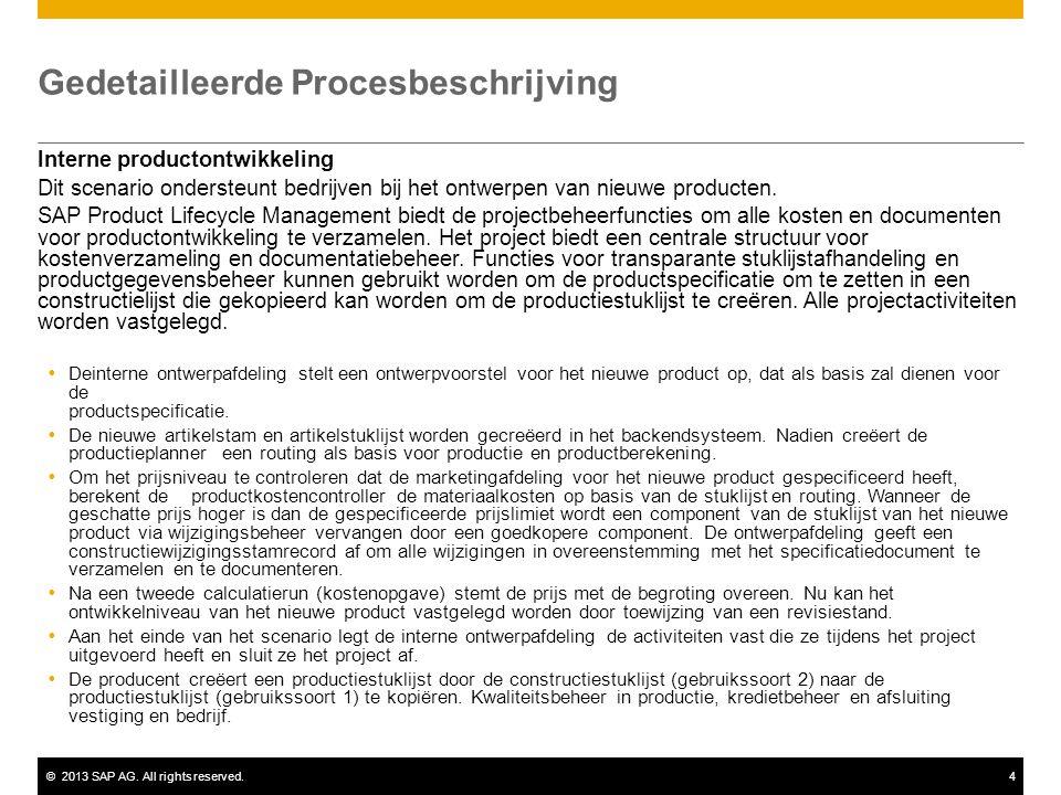 ©2013 SAP AG. All rights reserved.4 Gedetailleerde Procesbeschrijving Interne productontwikkeling Dit scenario ondersteunt bedrijven bij het ontwerpen