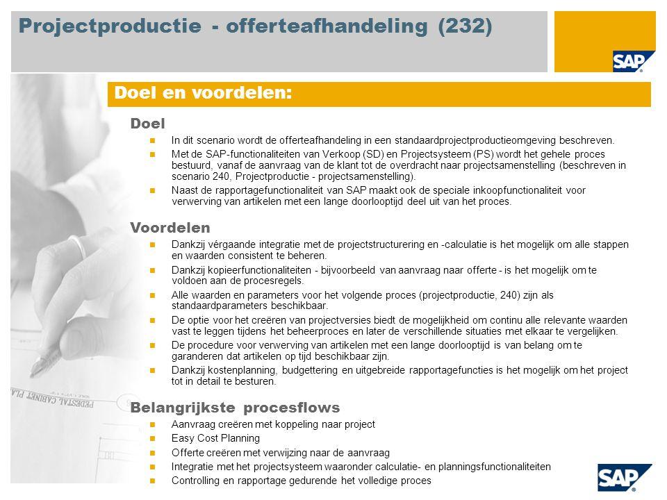 Doel en voordelen: Doel In dit scenario wordt de offerteafhandeling in een standaardprojectproductieomgeving beschreven.