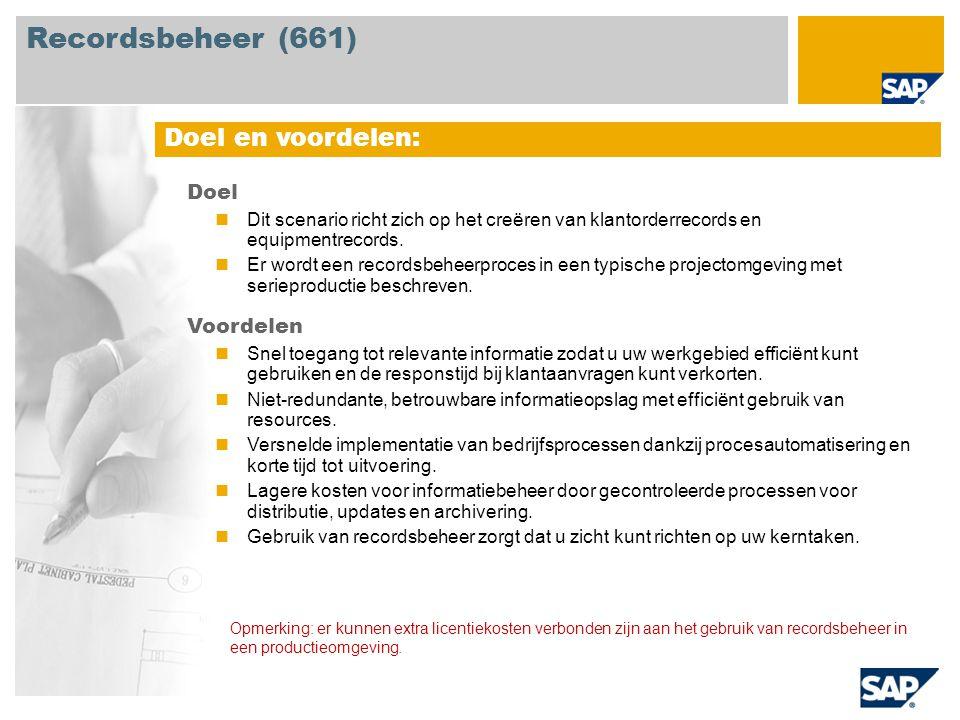 Recordsbeheer (661) Opmerking: er kunnen extra licentiekosten verbonden zijn aan het gebruik van recordsbeheer in een productieomgeving.