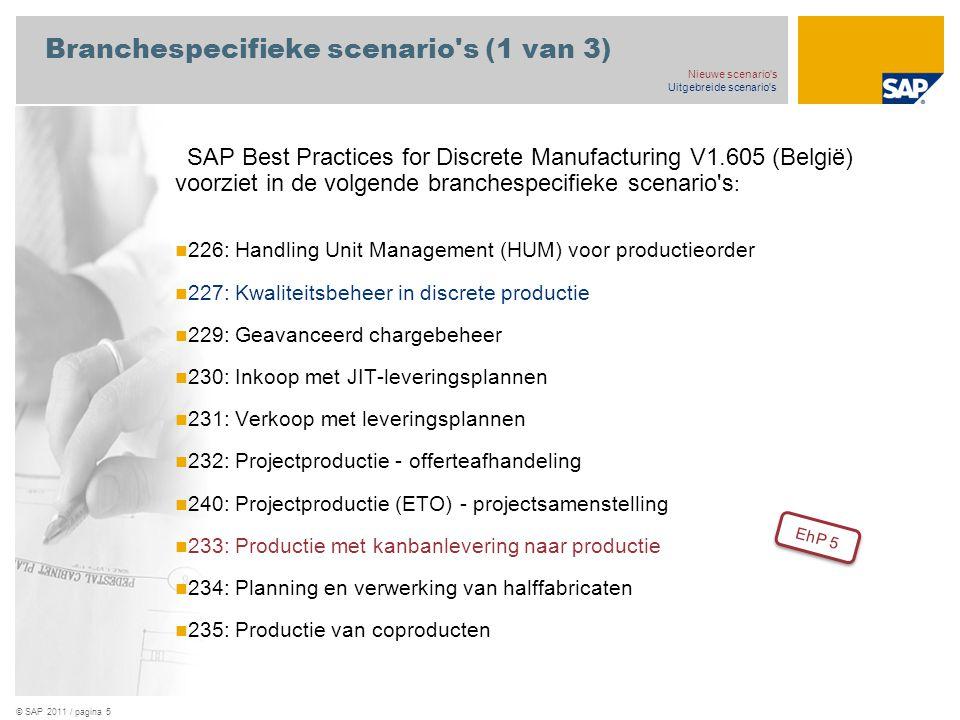 © SAP 2011 / pagina 5 Branchespecifieke scenario s (1 van 3) SAP Best Practices for Discrete Manufacturing V1.605 (België) voorziet in de volgende branchespecifieke scenario s : 226: Handling Unit Management (HUM) voor productieorder 227: Kwaliteitsbeheer in discrete productie 229: Geavanceerd chargebeheer 230: Inkoop met JIT-leveringsplannen 231: Verkoop met leveringsplannen 232: Projectproductie - offerteafhandeling 240: Projectproductie (ETO) - projectsamenstelling 233: Productie met kanbanlevering naar productie 234: Planning en verwerking van halffabricaten 235: Productie van coproducten Nieuwe scenario s Uitgebreide scenario s EhP 5