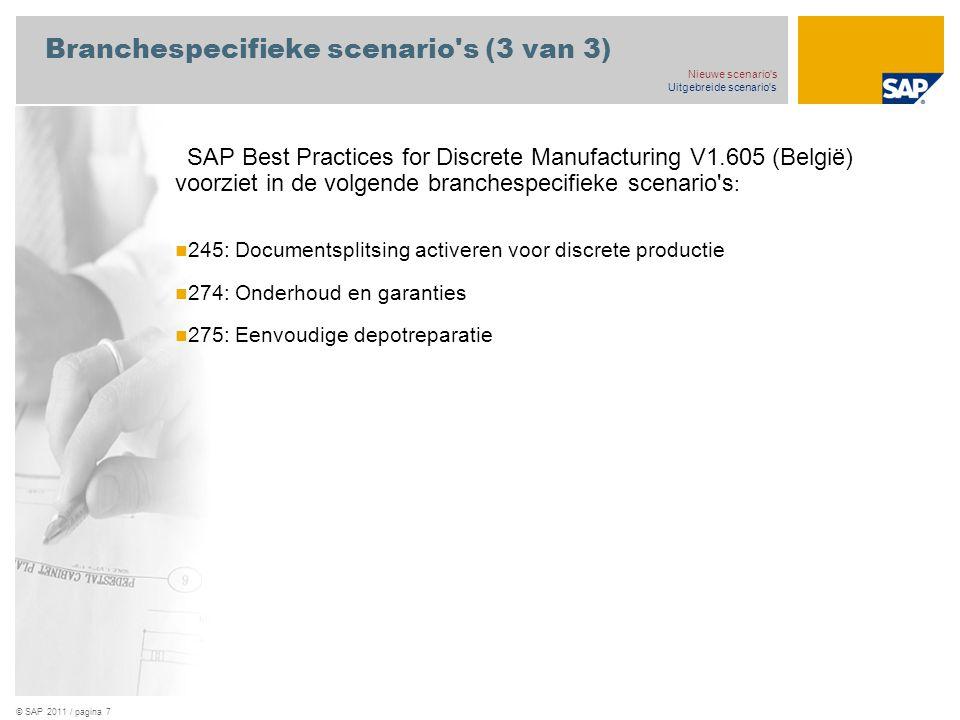 © SAP 2011 / pagina 7 Branchespecifieke scenario s (3 van 3) SAP Best Practices for Discrete Manufacturing V1.605 (België) voorziet in de volgende branchespecifieke scenario s : 245: Documentsplitsing activeren voor discrete productie 274: Onderhoud en garanties 275: Eenvoudige depotreparatie Nieuwe scenario s Uitgebreide scenario s