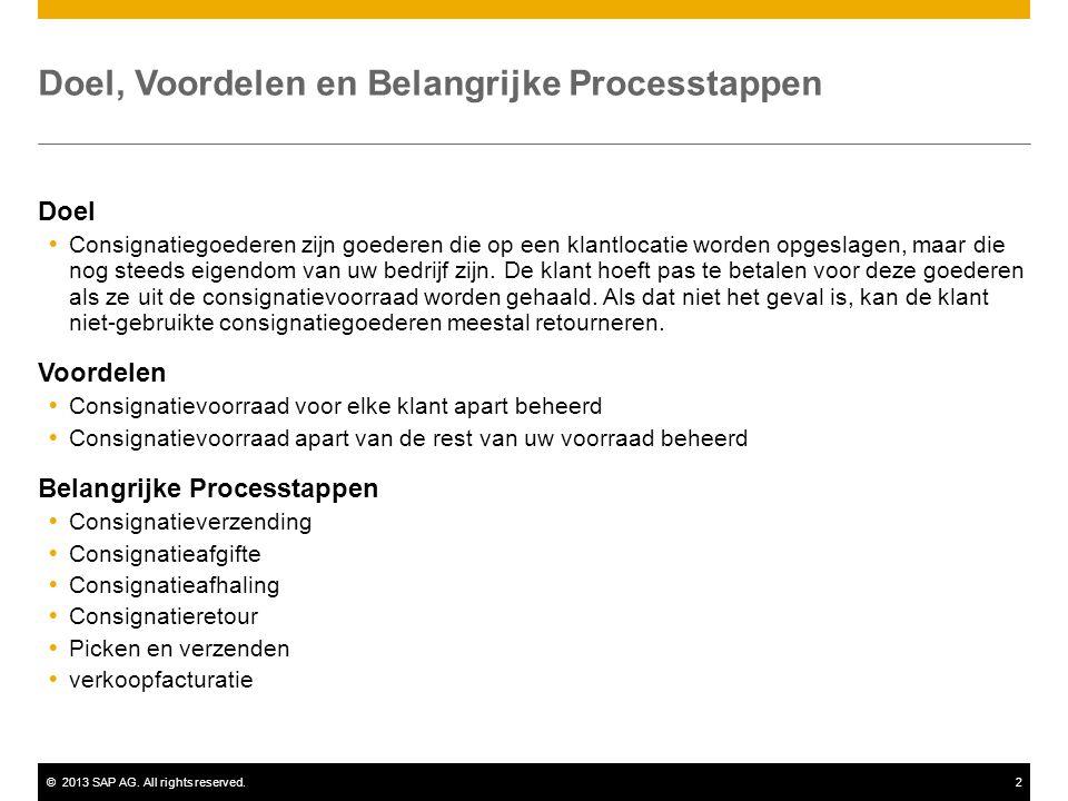 ©2013 SAP AG. All rights reserved.2 Doel, Voordelen en Belangrijke Processtappen Doel  Consignatiegoederen zijn goederen die op een klantlocatie word