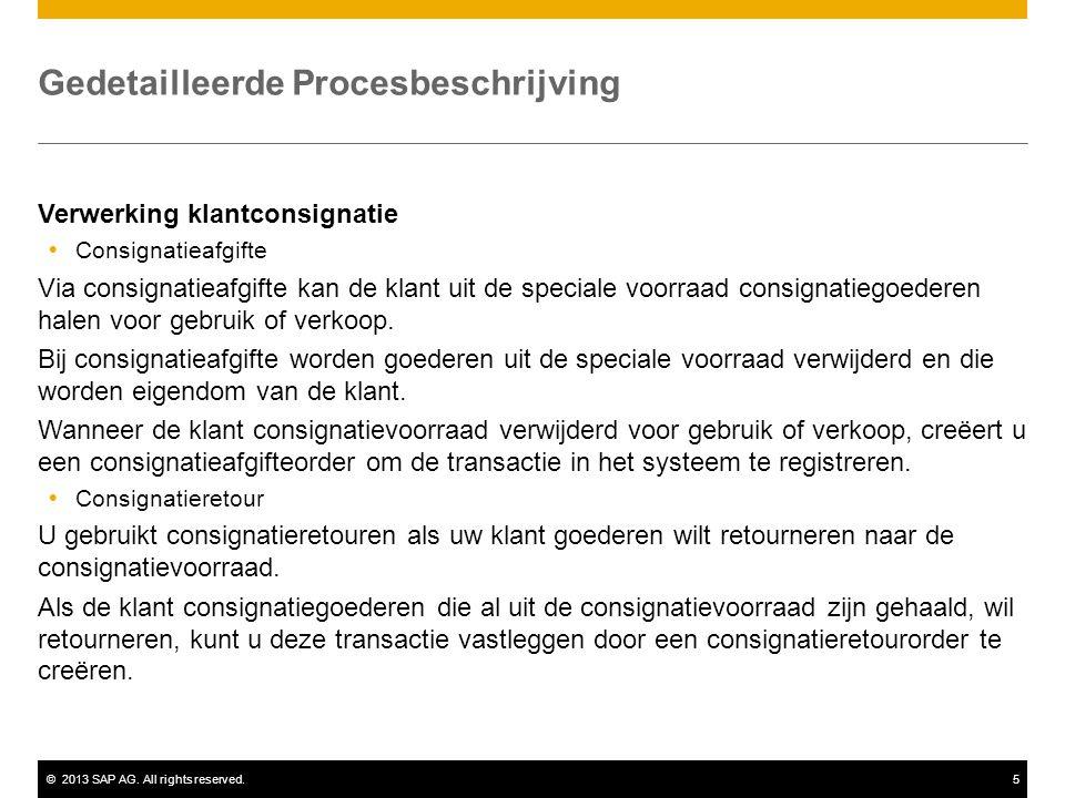 ©2013 SAP AG. All rights reserved.5 Gedetailleerde Procesbeschrijving Verwerking klantconsignatie  Consignatieafgifte Via consignatieafgifte kan de k