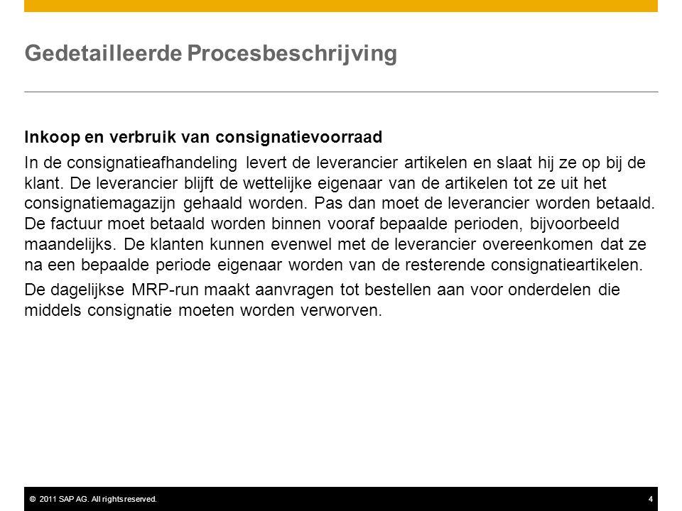 ©2011 SAP AG. All rights reserved.4 Gedetailleerde Procesbeschrijving Inkoop en verbruik van consignatievoorraad In de consignatieafhandeling levert d
