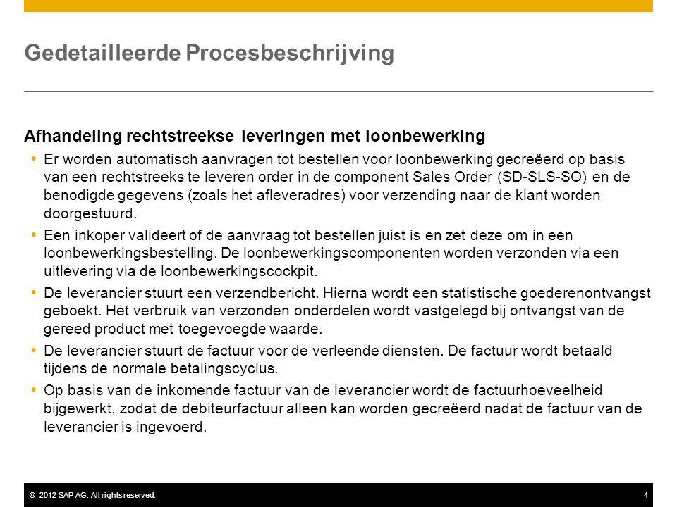 ©2012 SAP AG. All rights reserved.4 Gedetailleerde Procesbeschrijving Afhandeling rechtstreekse leveringen met loonbewerking  Er worden automatisch a