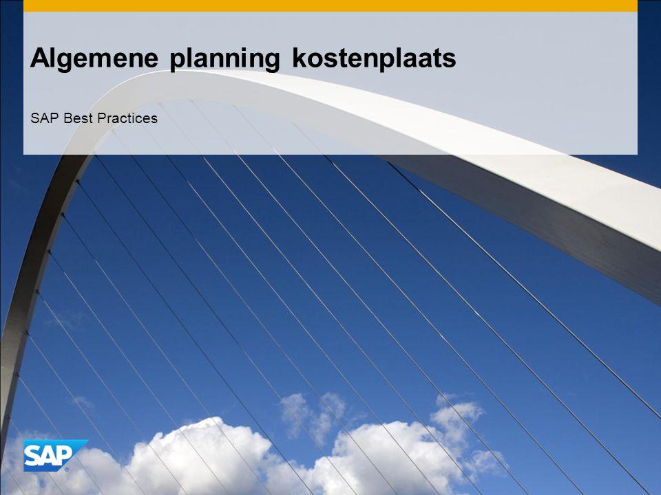 Algemene planning kostenplaats SAP Best Practices