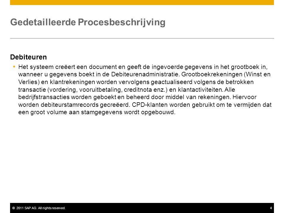 ©2011 SAP AG. All rights reserved.4 Gedetailleerde Procesbeschrijving Debiteuren  Het systeem creëert een document en geeft de ingevoerde gegevens in
