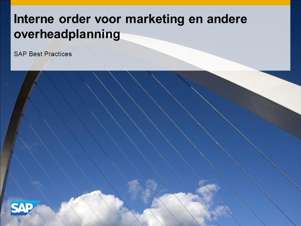 Interne order voor marketing en andere overheadplanning SAP Best Practices