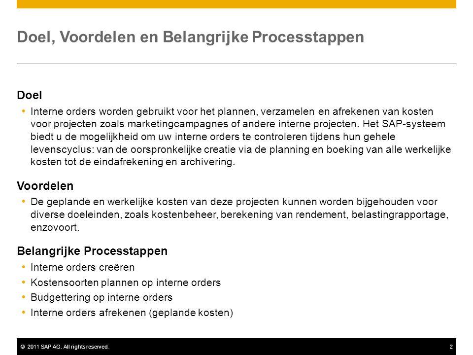 ©2011 SAP AG. All rights reserved.2 Doel, Voordelen en Belangrijke Processtappen Doel  Interne orders worden gebruikt voor het plannen, verzamelen en