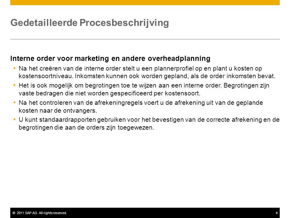 ©2011 SAP AG. All rights reserved.4 Gedetailleerde Procesbeschrijving Interne order voor marketing en andere overheadplanning  Na het creëren van de