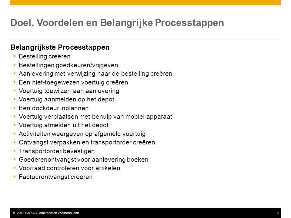©2012 SAP AG. Alle rechten voorbehouden.3 Doel, Voordelen en Belangrijke Processtappen Belangrijkste Processtappen  Bestelling creëren  Bestellingen