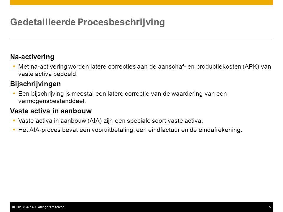 ©2013 SAP AG. All rights reserved.5 Gedetailleerde Procesbeschrijving Na-activering  Met na-activering worden latere correcties aan de aanschaf- en p