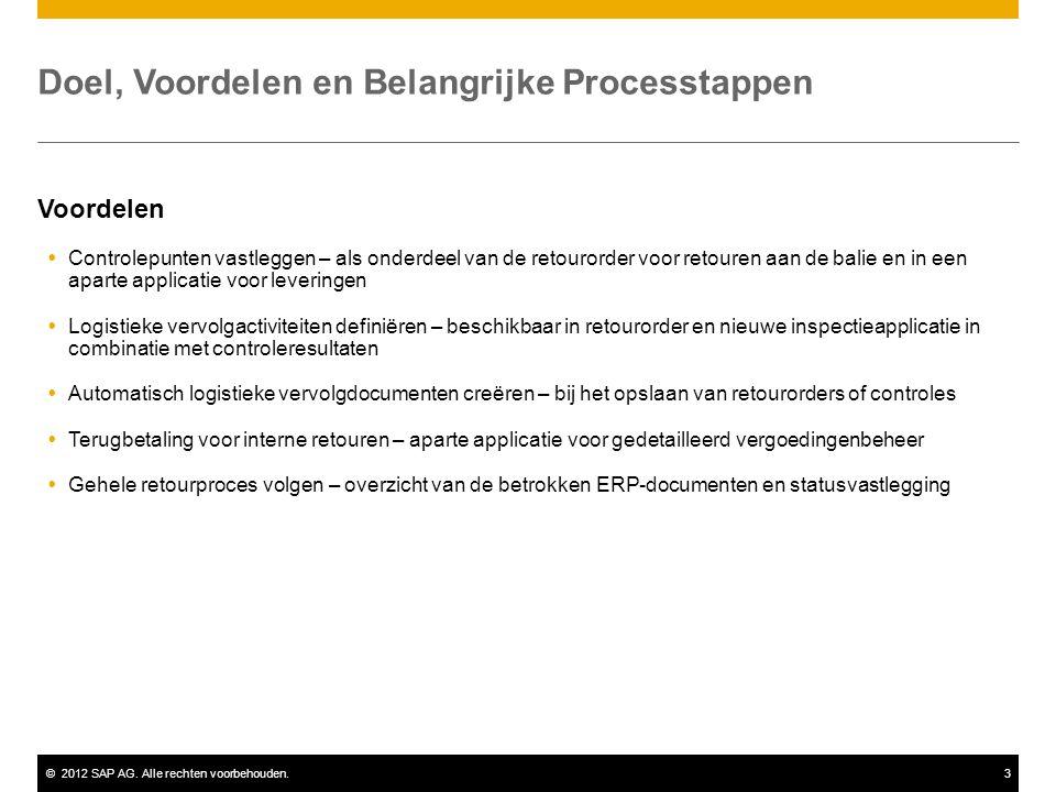 ©2012 SAP AG. Alle rechten voorbehouden.3 Doel, Voordelen en Belangrijke Processtappen Voordelen  Controlepunten vastleggen – als onderdeel van de re