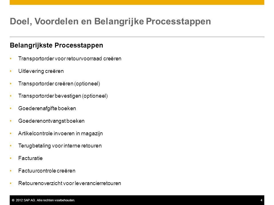 ©2012 SAP AG. Alle rechten voorbehouden.4 Doel, Voordelen en Belangrijke Processtappen Belangrijkste Processtappen Transportorder voor retourvoorraad
